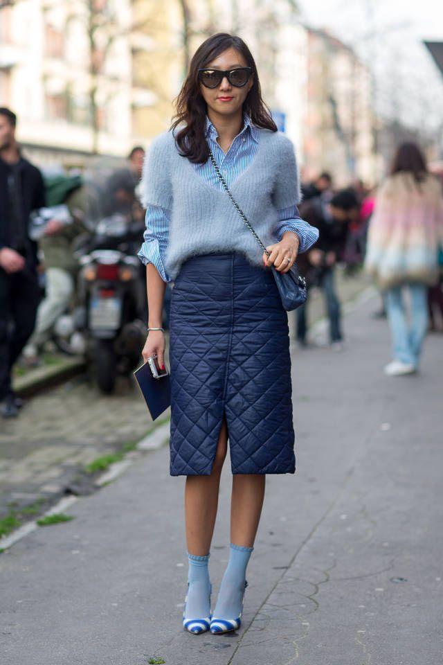 Women's Grey Mohair Crew-neck Sweater, Blue Vertical Striped Dress ...