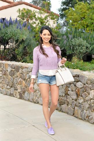 Women's Light Violet Crew-neck Sweater, White Dress Shirt, Light Blue Denim Shorts, Light Violet Low Top Sneakers