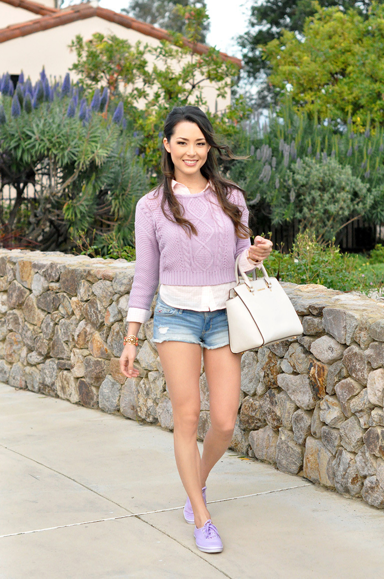 756bfa3ea8c How to Wear a Light Violet Crew-neck Sweater For Women (13 looks ...