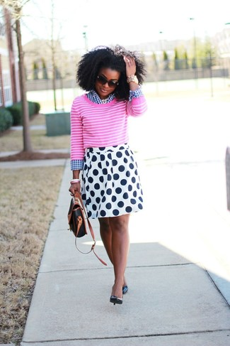 Women's Hot Pink Horizontal Striped Crew-neck Sweater, White and Navy Gingham Dress Shirt, White and Navy Polka Dot Skater Skirt, Black Leather Pumps