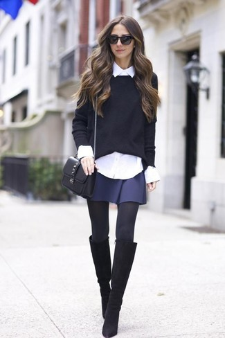 How to Wear Black Suede Knee High Boots: A black crew-neck sweater and a navy skater skirt are essential in a stylish casual arsenal. Black suede knee high boots will create a beautiful contrast against the rest of the ensemble.