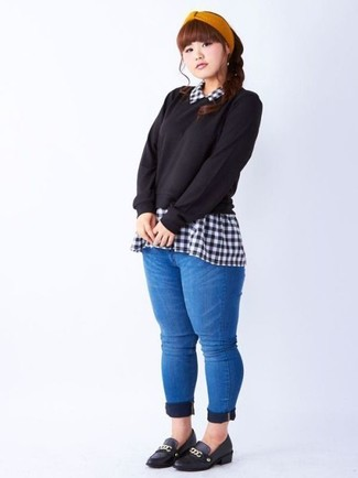 Black Gingham Check Blouse