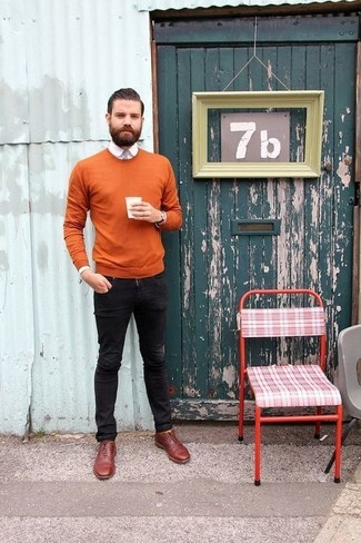 How to wear: tobacco crew-neck sweater, white dress shirt, black skinny jeans, burgundy leather oxford shoes