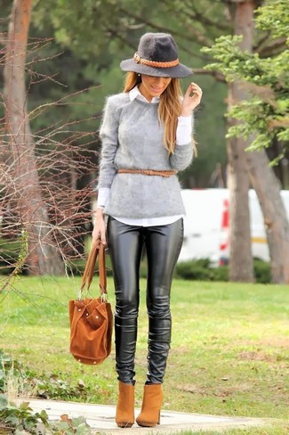 How to wear: grey fluffy crew-neck sweater, white dress shirt, black leather skinny pants, tan suede ankle boots