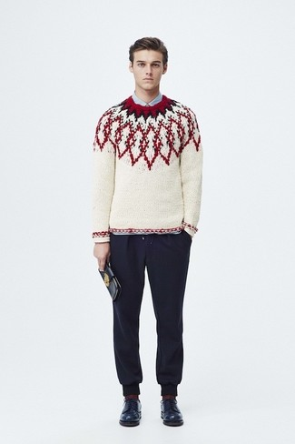 How to wear: white fair isle crew-neck sweater, light blue dress shirt, navy sweatpants, navy leather derby shoes