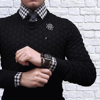 How to wear: black crew-neck sweater, white and black gingham dress shirt, black tie, black ceramic watch