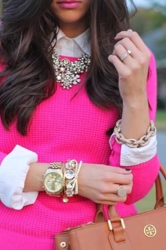 Check Stamped Bracelet Watch 34mm