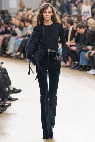 How to wear: black crew-neck sweater, navy corduroy flare pants, black leather pumps, black fur clutch