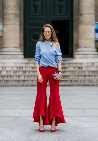 How to wear: light blue crew-neck sweater, red flare pants, red leather pumps, white and red and navy clutch