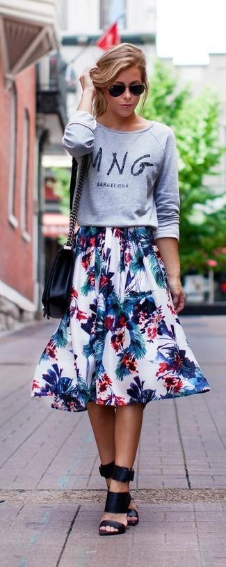 Women's Grey Print Crew-neck Sweater, White Floral Full Skirt, Black Leather Mules, Black Leather Crossbody Bag