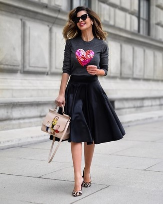 How to wear: charcoal embellished crew-neck sweater, black full skirt, beige leopard calf hair pumps, beige print leather satchel bag