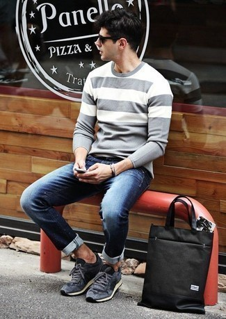 How to Wear Suede Athletic Shoes For Men: For a goofproof laid-back option, you can never go wrong with this pairing of a grey horizontal striped crew-neck sweater and navy jeans. Balance out your outfit with more casual shoes, such as this pair of suede athletic shoes.
