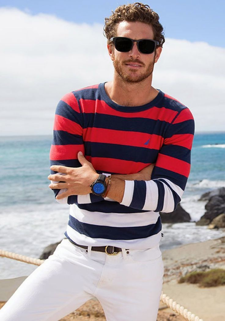 How to Wear a White and Red and Navy Horizontal Striped Sweater (5 ...