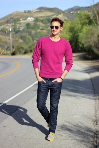 White and Pink Crew-neck Sweater with Blue Jeans Outfits For Men: If the setting allows an off-duty look, rock a white and pink crew-neck sweater with blue jeans. Complete this ensemble with a pair of grey canvas boat shoes and the whole ensemble will come together wonderfully.
