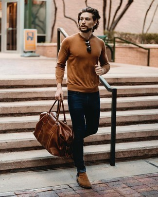 Tobacco Crew-neck Sweater Outfits For Men: This casual combination of a tobacco crew-neck sweater and navy jeans is very easy to put together without a second thought, helping you look on-trend and prepared for anything without spending a ton of time searching through your closet. Bump up the formality of your outfit a bit by slipping into a pair of brown suede chelsea boots.