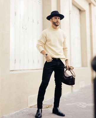Hat Outfits For Men: Why not pair a beige crew-neck sweater with a hat? Both pieces are totally functional and will look amazing when worn together. Breathe an added touch of style into this ensemble by slipping into navy leather chelsea boots.
