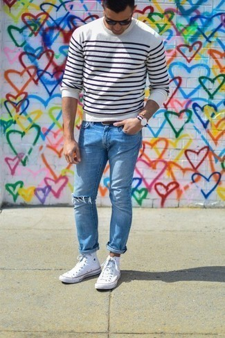 How to Wear Navy Sunglasses For Men: This casual combination of a white and navy horizontal striped crew-neck sweater and navy sunglasses is a never-failing option when you need to look dapper in a flash. And if you need to instantly up the ante of your ensemble with footwear, why not complete this outfit with a pair of white canvas high top sneakers?