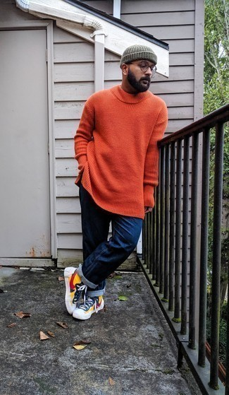 Grey Beanie Outfits For Men: If you appreciate function above all, consider wearing an orange crew-neck sweater and a grey beanie. For something more on the dressier side to finish this getup, complete your outfit with multi colored canvas high top sneakers.