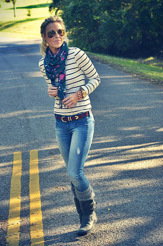 How to wear: white and navy horizontal striped crew-neck sweater, blue jeans, black leather mid-calf boots, dark brown leather belt