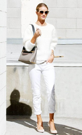 How to wear: white fluffy crew-neck sweater, white jeans, beige suede pumps, grey leather crossbody bag