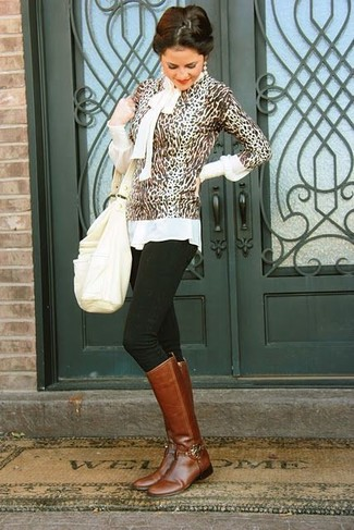How to wear: brown leopard crew-neck sweater, white long sleeve blouse, black skinny jeans, brown leather knee high boots