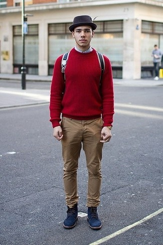 How to Wear Navy Suede Casual Boots For Men: Consider teaming a red crew-neck sweater with khaki chinos to create an interesting and modern-looking casual outfit. Avoid looking too casual by rounding off with a pair of navy suede casual boots.