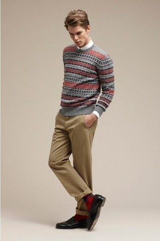 How to wear: grey fair isle crew-neck sweater, white long sleeve shirt, khaki chinos, black leather loafers