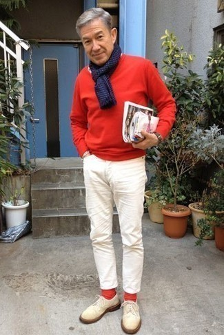 How to Wear Beige Suede Derby Shoes: This off-duty combination of a red crew-neck sweater and white chinos is a surefire option when you need to look great in a flash. Throw a pair of beige suede derby shoes into the mix to make the outfit slightly more sophisticated.