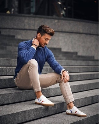 Dark Brown Bracelet Outfits For Men: A blue crew-neck sweater and a dark brown bracelet are a nice look worth having in your casual arsenal. Get a little creative on the shoe front and spruce up this look by sporting white print canvas low top sneakers.
