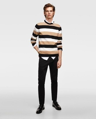 How to Wear Derby Shoes: Consider teaming a tan horizontal striped crew-neck sweater with black chinos if you want to look casually dapper without trying too hard. Introduce a pair of derby shoes to the equation for a sense of polish.
