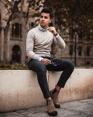 Light Blue Vertical Striped Long Sleeve Shirt Outfits For Men: For a relaxed ensemble, wear a light blue vertical striped long sleeve shirt and charcoal chinos — these pieces go nicely together. A good pair of brown suede chelsea boots is an effortless way to punch up your look.