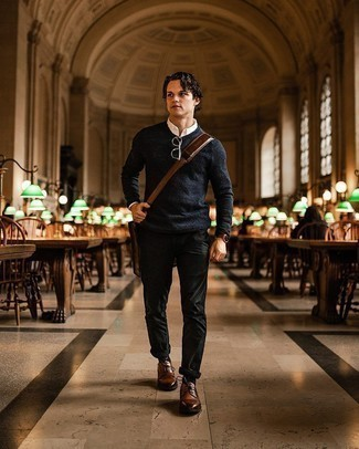 Brown Leather Derby Shoes Outfits: Inject personality into your day-to-day casual rotation with a navy crew-neck sweater and black chinos. Put a more elegant spin on an otherwise utilitarian outfit by finishing with a pair of brown leather derby shoes.