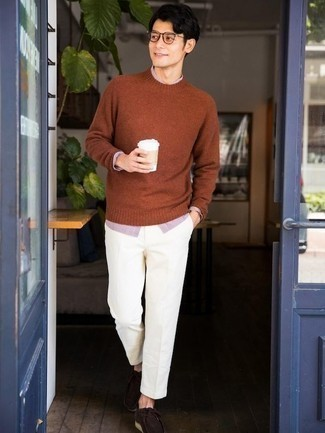 Dark Brown Suede Desert Boots Outfits: Why not team a tobacco crew-neck sweater with white chinos? As well as very comfortable, both items look good when married together. A pair of dark brown suede desert boots acts as the glue that will tie your ensemble together.