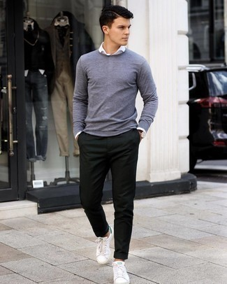 Dark Green Chinos Outfits: This casual combination of a grey crew-neck sweater and dark green chinos comes to rescue when you need to look great in a flash. If you wish to easily dress down this outfit with a pair of shoes, why not introduce a pair of white and green leather low top sneakers to the mix?