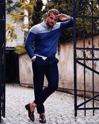 Navy Crew-neck Sweater Outfits For Men: A navy crew-neck sweater and navy chinos are must-have menswear must-haves if you're picking out an off-duty wardrobe that holds to the highest fashion standards. Unimpressed with this ensemble? Enter dark brown leather tassel loafers to mix things up a bit.