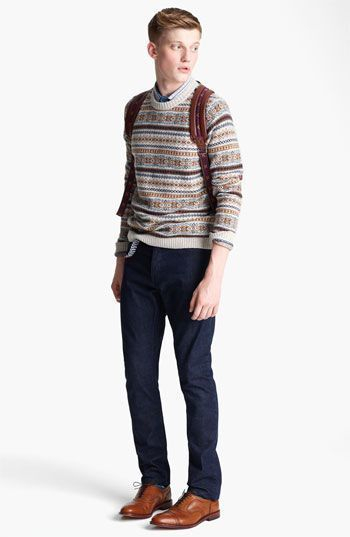 How To Wear Brown Oxford Shoes With a Beige Crew-neck Sweater ...