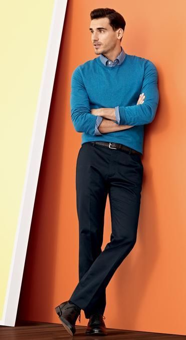 How to Wear an Aquamarine Crew-neck Sweater (13 looks) | Men's Fashion