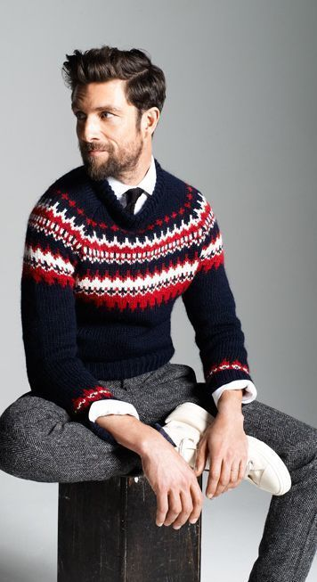 How to Wear a Navy and White Fair Isle Crew-neck Sweater (22 looks ...