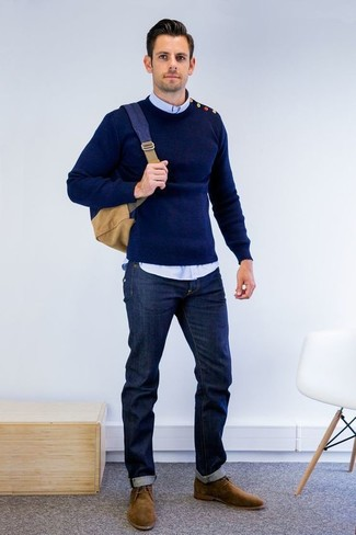 How to wear: navy crew-neck sweater, light blue long sleeve shirt, navy jeans, brown suede desert boots