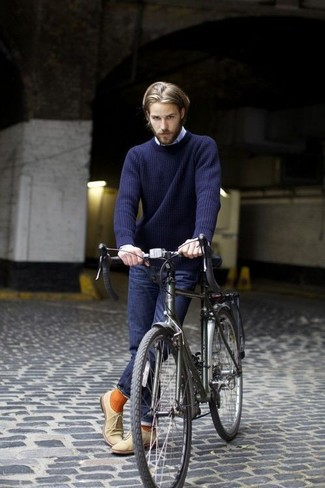 How to wear: navy crew-neck sweater, light blue long sleeve shirt, navy jeans, beige suede oxford shoes