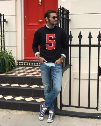 High Top Sneakers Outfits For Men: This combination of a black print crew-neck sweater and blue jeans is solid proof that a safe casual ensemble doesn't have to be boring. To infuse an air of stylish nonchalance into your outfit, slip into high top sneakers.