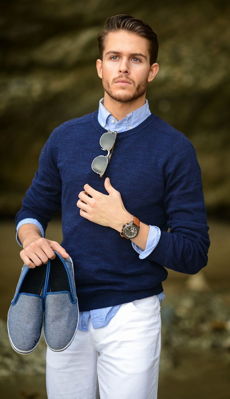 Men's Navy Crew-neck Sweater, Light Blue Chambray Long Sleeve ...