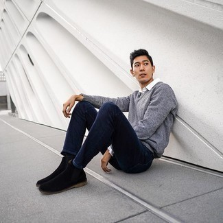 Grey Crew-neck Sweater Outfits For Men: A grey crew-neck sweater and navy skinny jeans are among those game-changing menswear pieces that can reshape your closet. A pair of black suede chelsea boots can instantly elevate this getup.