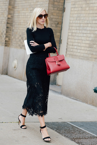 How to wear: black crew-neck sweater, black lace midi skirt, black suede heeled sandals, red leather satchel bag