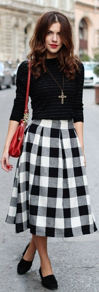 Women's Black Horizontal Striped Crew-neck Sweater, Black and White Gingham Midi Skirt, Black Suede Loafers, Red Leather Crossbody Bag