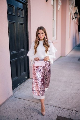 How to wear: white ruffle crew-neck sweater, pink sequin midi skirt, tan leather pumps, pink leather clutch