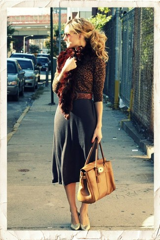 How to wear: brown leopard crew-neck sweater, charcoal midi skirt, gold leather pumps, tan leather satchel bag