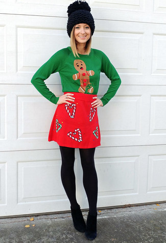 How to wear: green christmas crew-neck sweater, red wool mini skirt, black suede ankle boots, black knit beanie