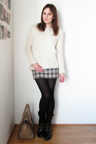 Black Wool Tights with Black and White Plaid Mini Skirt Outfits: This off-duty pairing of a white fluffy crew-neck sweater and a black and white plaid mini skirt is clean, seriously chic and very easy to imitate! For a dressier vibe, complement your ensemble with black studded leather mid-calf boots.
