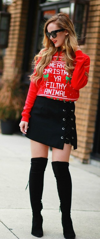How to wear: red christmas crew-neck sweater, black suede mini skirt, black suede over the knee boots, black sunglasses